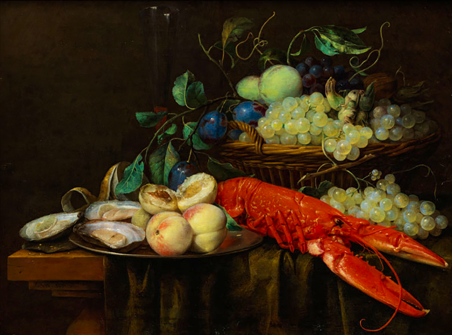 Joris van Son Still life with fruit basket lobster and oysters
