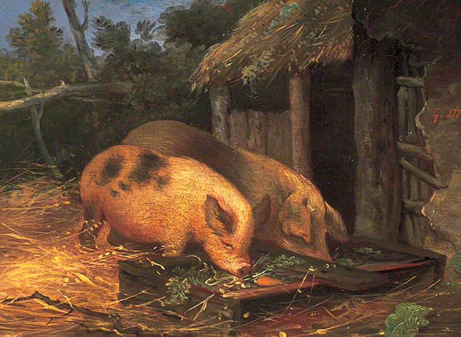 George Morland Pigs at a trough